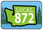 "Icon logo with trees in background, outline of Washington state in front and words ""Local 872."""